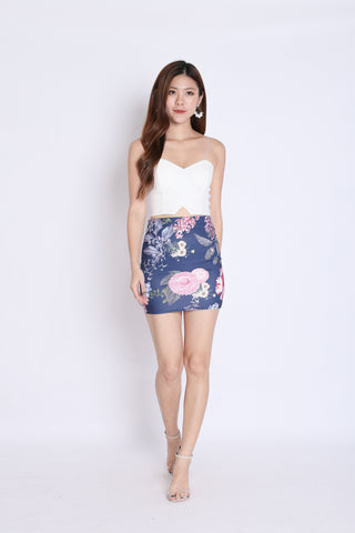 FLORAL BODYCON SKIRT (NAVY TROPICS)