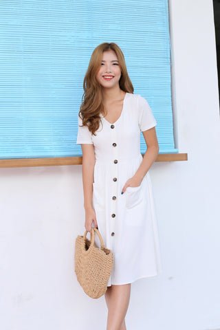 *TPZ* (PREMIUM) SARIELLE BUTTON POCKET MIDI IN WHITE