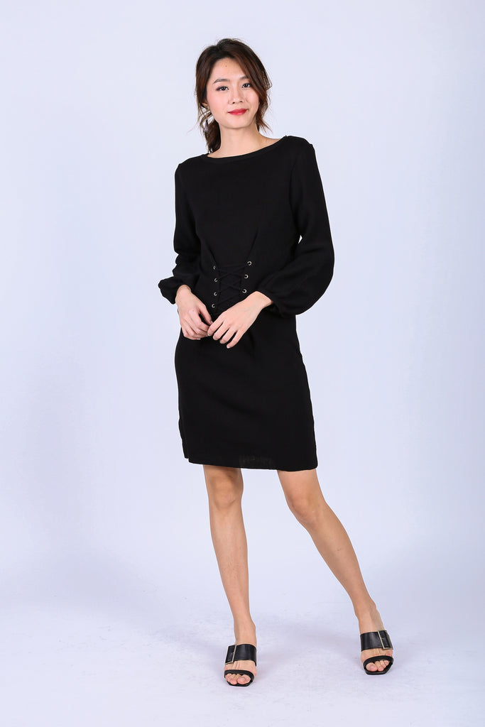 GWENYTH LACED KNIT DRESS IN BLACK - TOPAZETTE