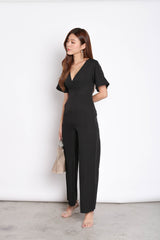 *TPZ* (PREMIUM) QUISHA SLEEVED JUMPSUIT IN BLACK