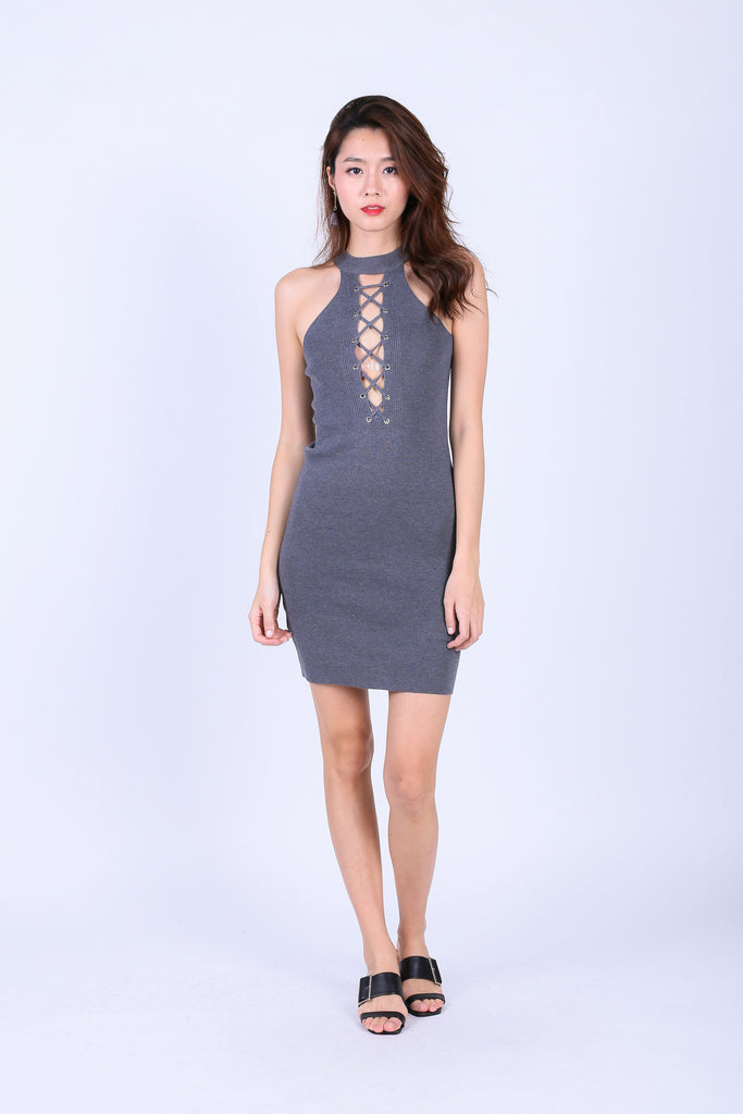 CEIL REVERSIBLE LACE KNIT DRESS IN GREY - TOPAZETTE