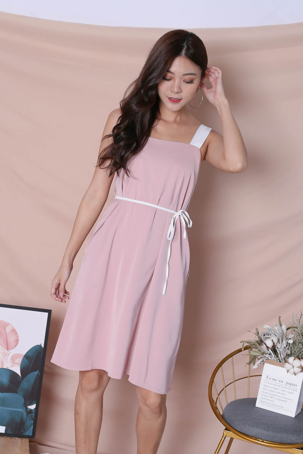 *TPZ* (PREMIUM) HELLIZ COLOURBLOCK STRAP DRESS (PINK/ WHITE)
