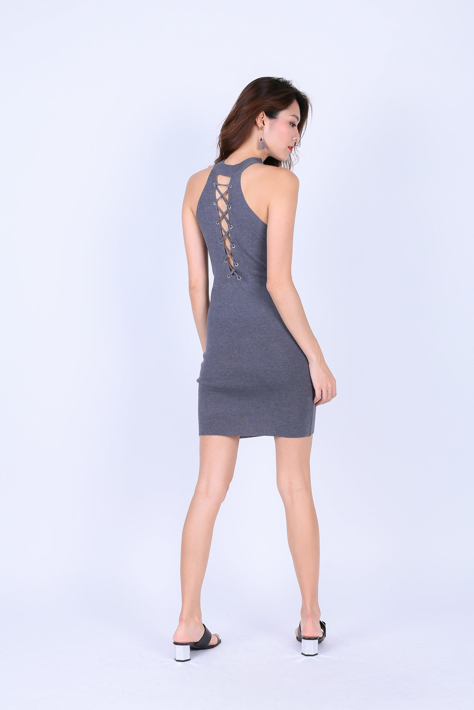 CEIL REVERSIBLE LACE KNIT DRESS IN GREY