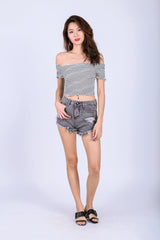 VIDA DENIM SHORTS IN BLACK