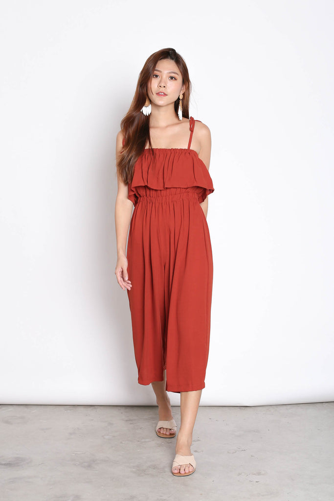 ELENA RIBBON TIE STRAPS JUMPSUIT IN RUST - TOPAZETTE