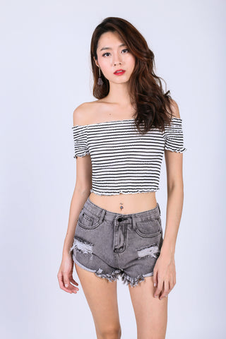*RESTOCKED* SMOCKED STRIPES CROP TOP IN WHITE