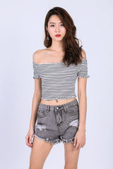 SMOCKED STRIPES CROP TOP IN WHITE