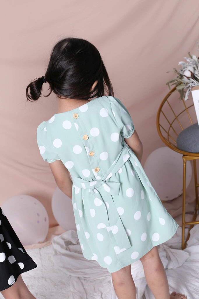 *LITTLE TOPAZETTE* POLKA DOT SLEEVE TIE DRESS IN SAGE GREEN - TOPAZETTE