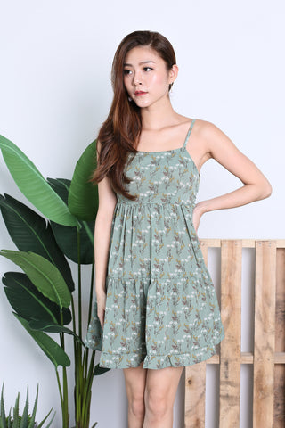 AUTUMN FLORAL DRESS IN JADE