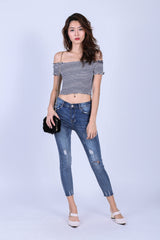 SLIM FIT CROPPED JEANS IN CLASSIC BLUE