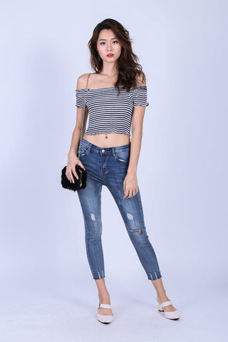 SMOCKED STRIPES CROP TOP IN NAVY