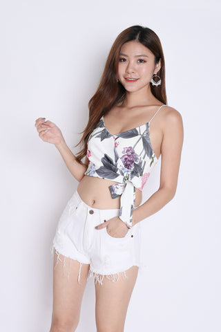 FLORAL WRAP CROP TOP (WHITE TROPICS)