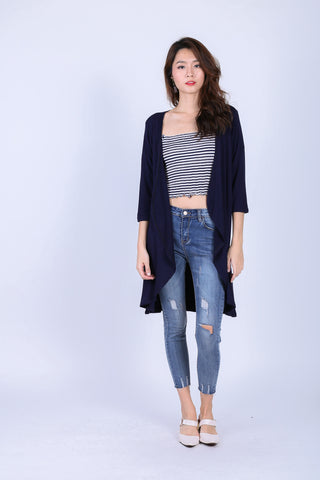 *RESTOCKED* EVERYDAY COTTON LONGLINE CARDIGAN IN NAVY