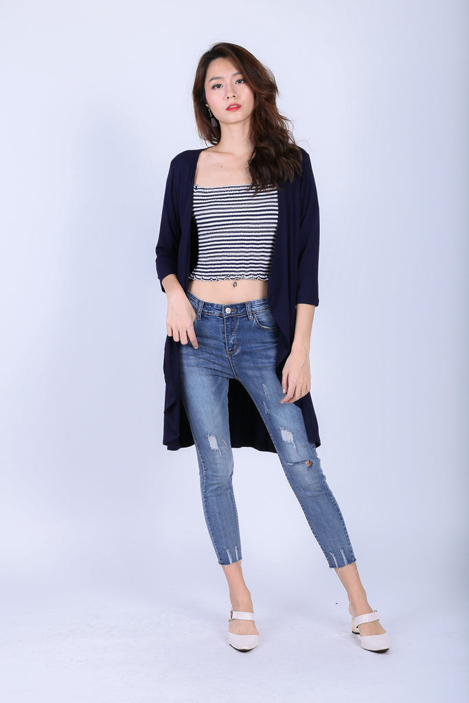 EVERYDAY COTTON LONGLINE CARDIGAN IN NAVY