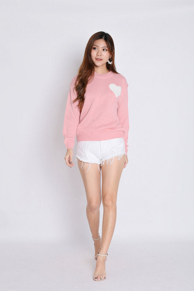 HEARTS KNIT TOP IN BABY PINK - TOPAZETTE