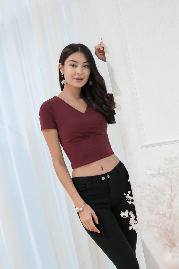 *TPZ* (PREMIUM) WISLA BASIC SLEEVED TOP IN BURGUNDY