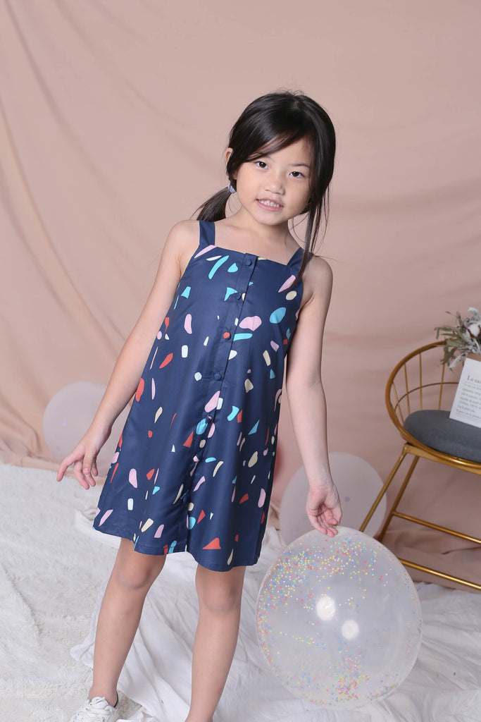 *LITTLE TOPAZETTE* CONFETTI 2 WAY BUTTON DRESS IN NAVY - TOPAZETTE