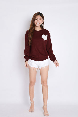 HEARTS KNIT TOP IN PLUM