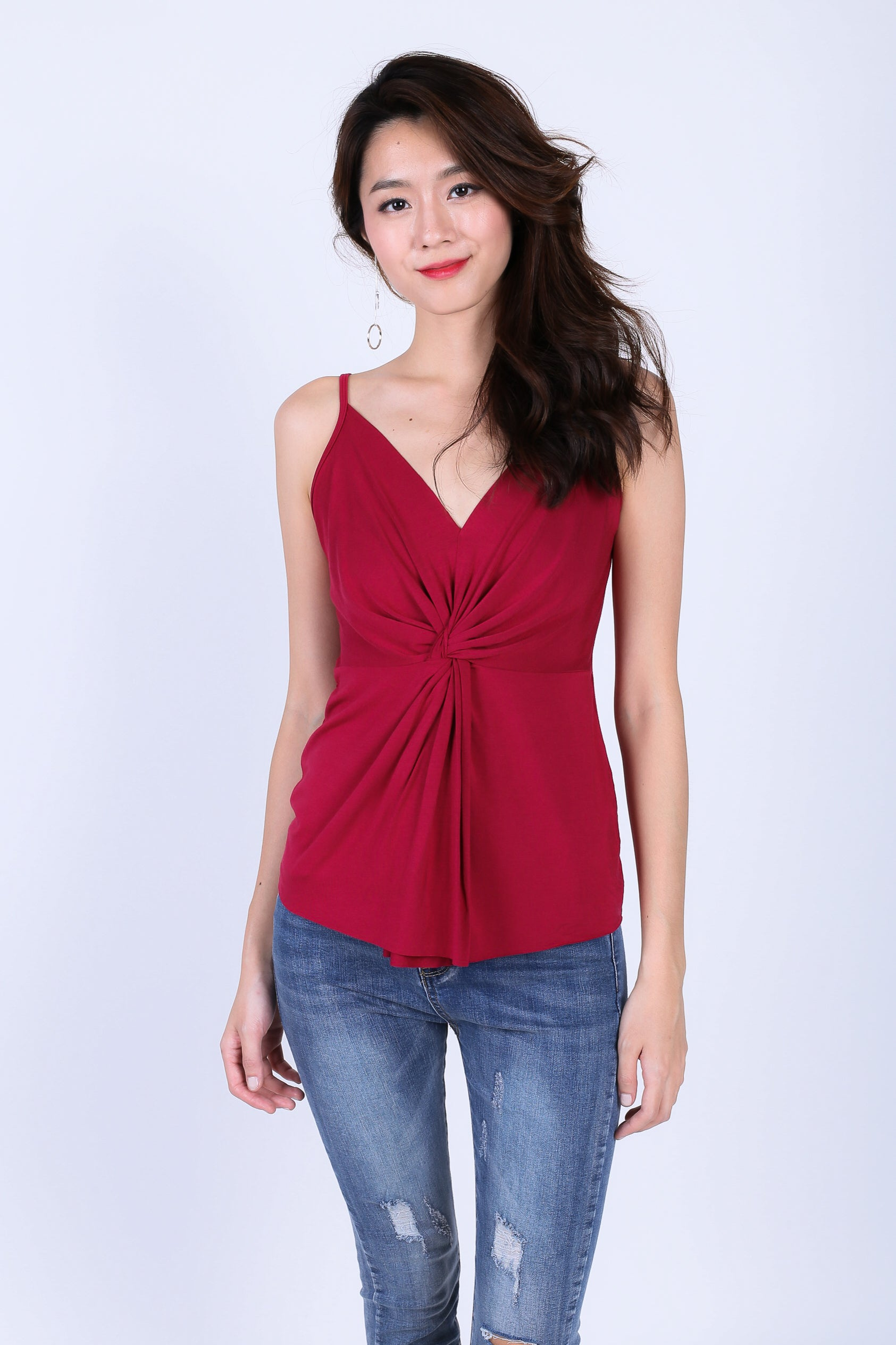 *RESTOCKED* MIA TWISTED SPAG TOP IN WINE