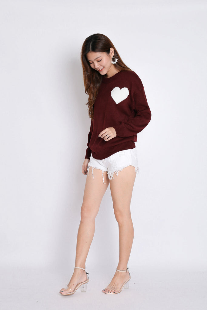 HEARTS KNIT TOP IN PLUM - TOPAZETTE