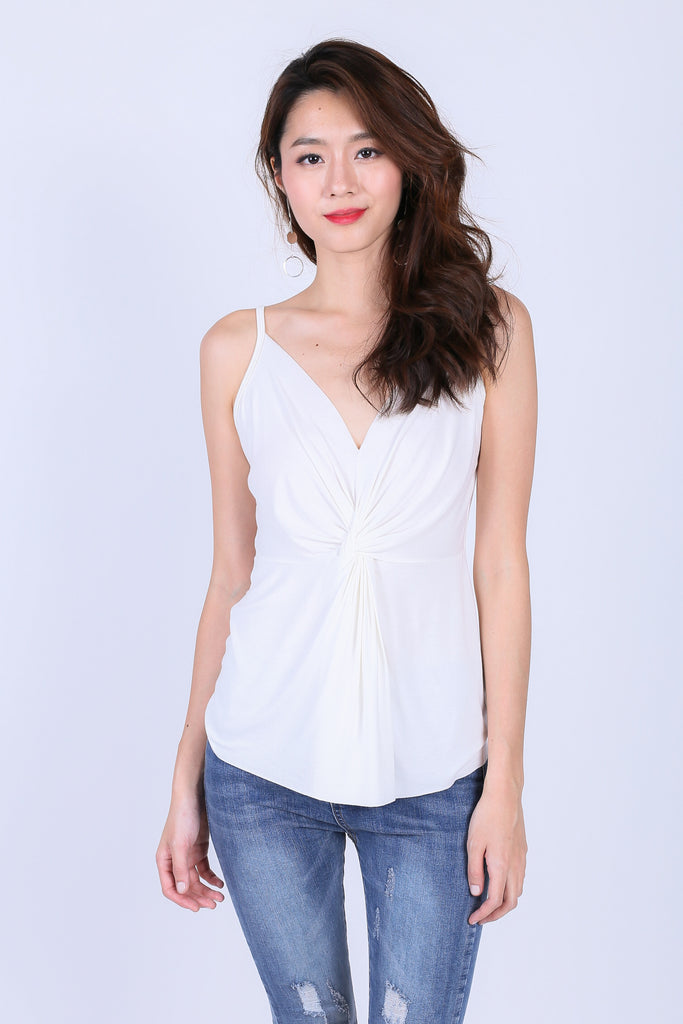 MIA TWISTED SPAG TOP IN WHITE