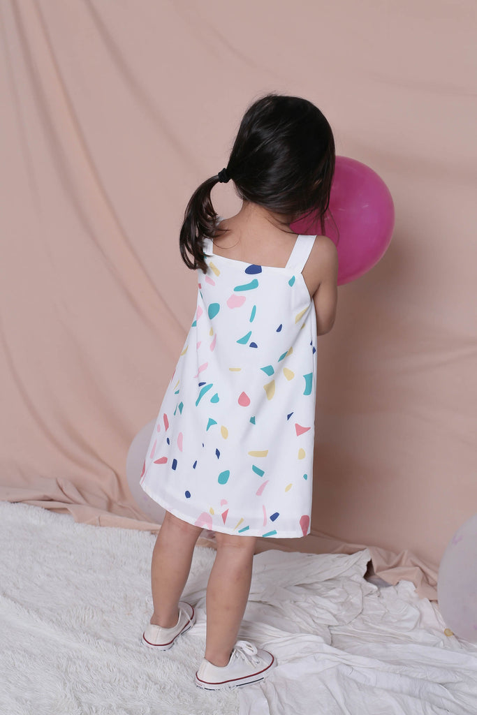 *LITTLE TOPAZETTE* CONFETTI 2 WAY BUTTON DRESS IN WHITE - TOPAZETTE
