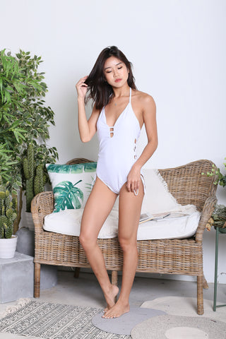 ERI LACED UP MONOKINI (WHITE)