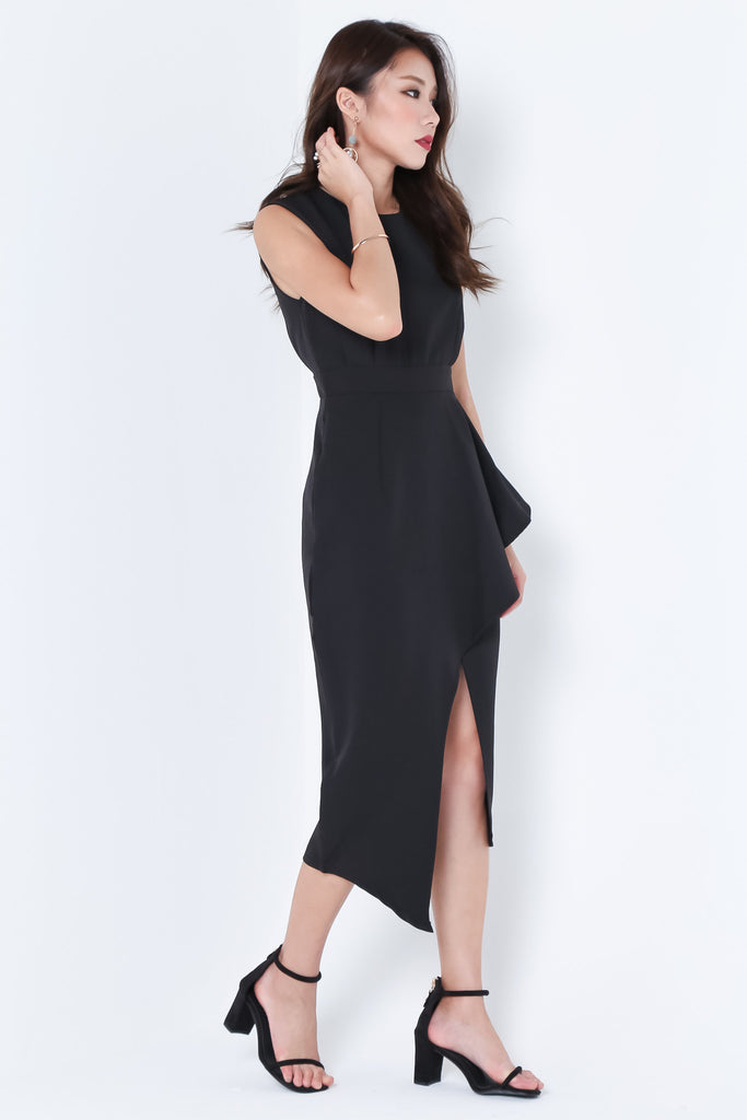 *TOPAZ* (PREMIUM) ALTAIR ASYMMETRICAL DRESS IN BLACK - TOPAZETTE