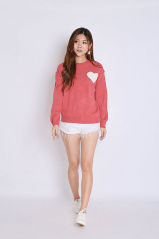 HEARTS KNIT TOP IN CANDY PINK