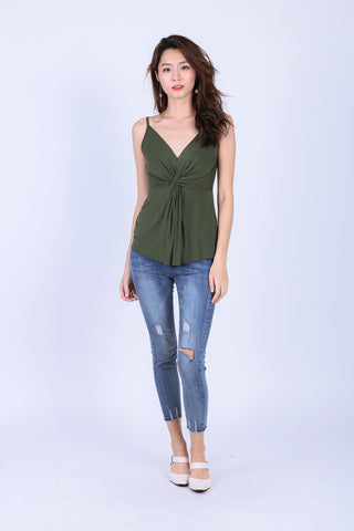 *BACKORDER* MIA TWISTED SPAG TOP IN OLIVE