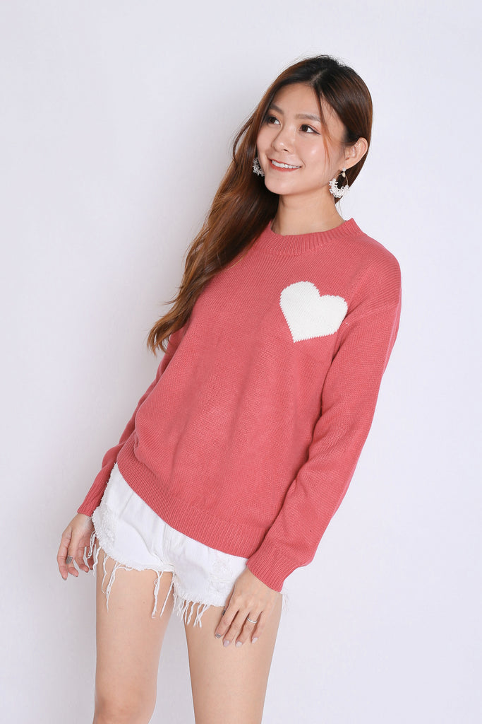 HEARTS KNIT TOP IN CANDY PINK - TOPAZETTE