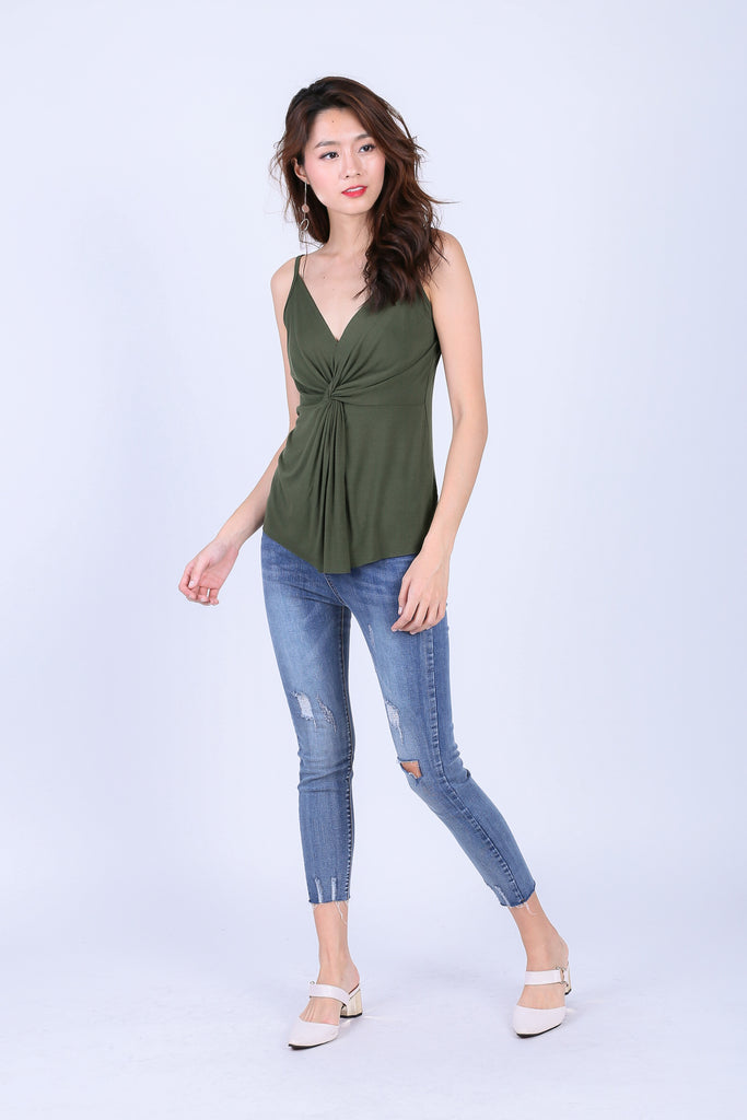 MIA TWISTED SPAG TOP IN OLIVE