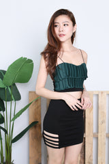 ACCORDION PLEATS CROP TOP IN FOREST