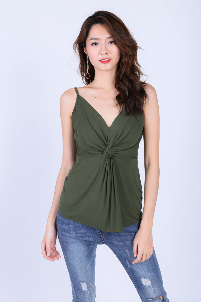 MIA TWISTED SPAG TOP IN OLIVE - TOPAZETTE