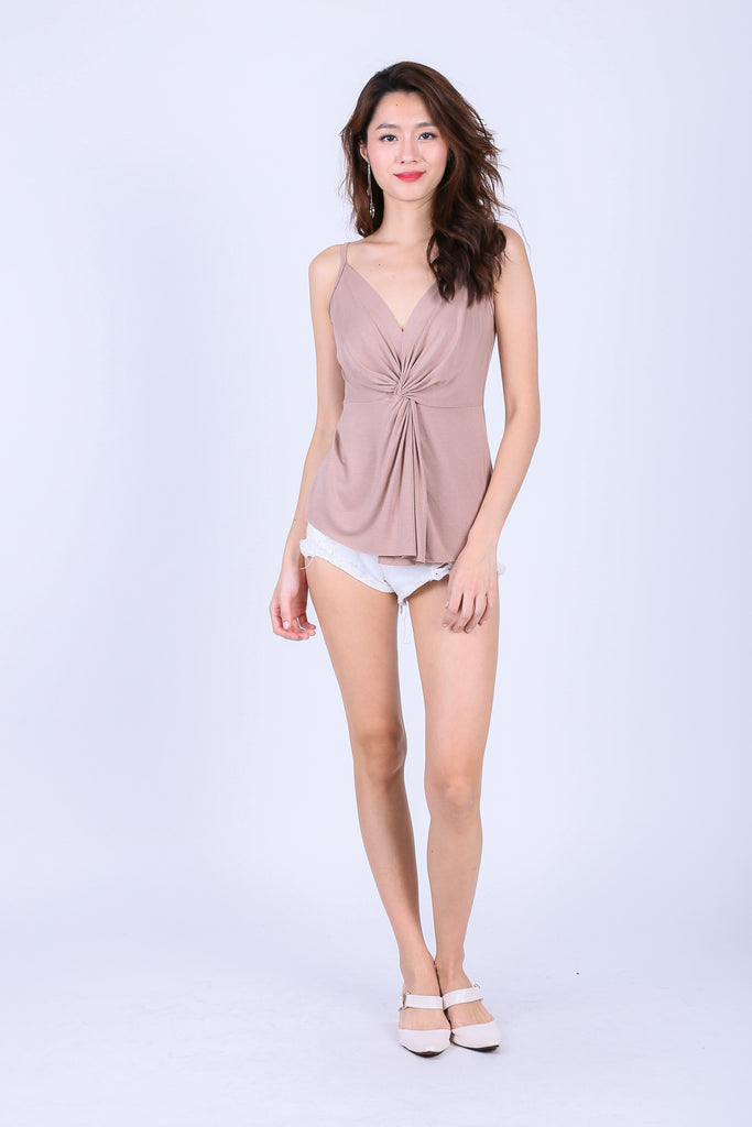 MIA TWISTED SPAG TOP IN TAUPE - TOPAZETTE