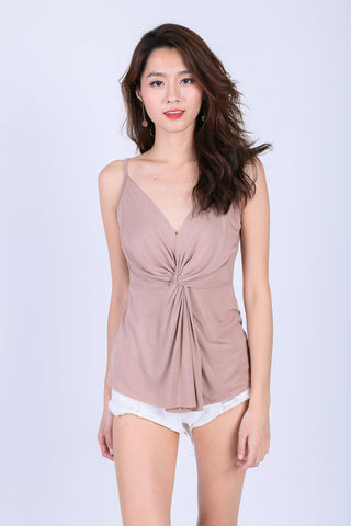 *BACKORDER* MIA TWISTED SPAG TOP IN TAUPE