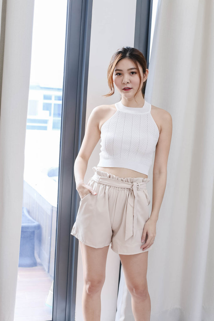 ELICIA KNIT CROP TOP IN WHITE