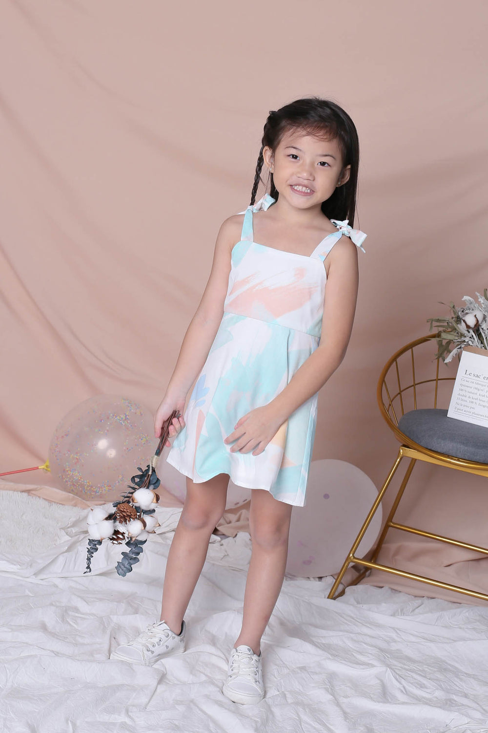 *LITTLE TOPAZETTE* WATERCOLOUR TIE SKATER DRESS IN GREEN