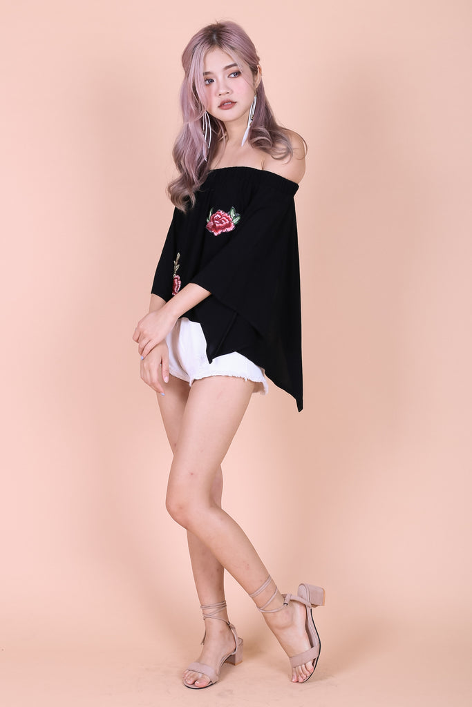 *TOPAZ* KYRA ROSE EMBROIDERY TOP IN BLACK - TOPAZETTE