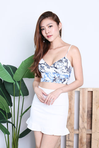 JAYDE CROP TOP IN PORCELAIN FLORALS