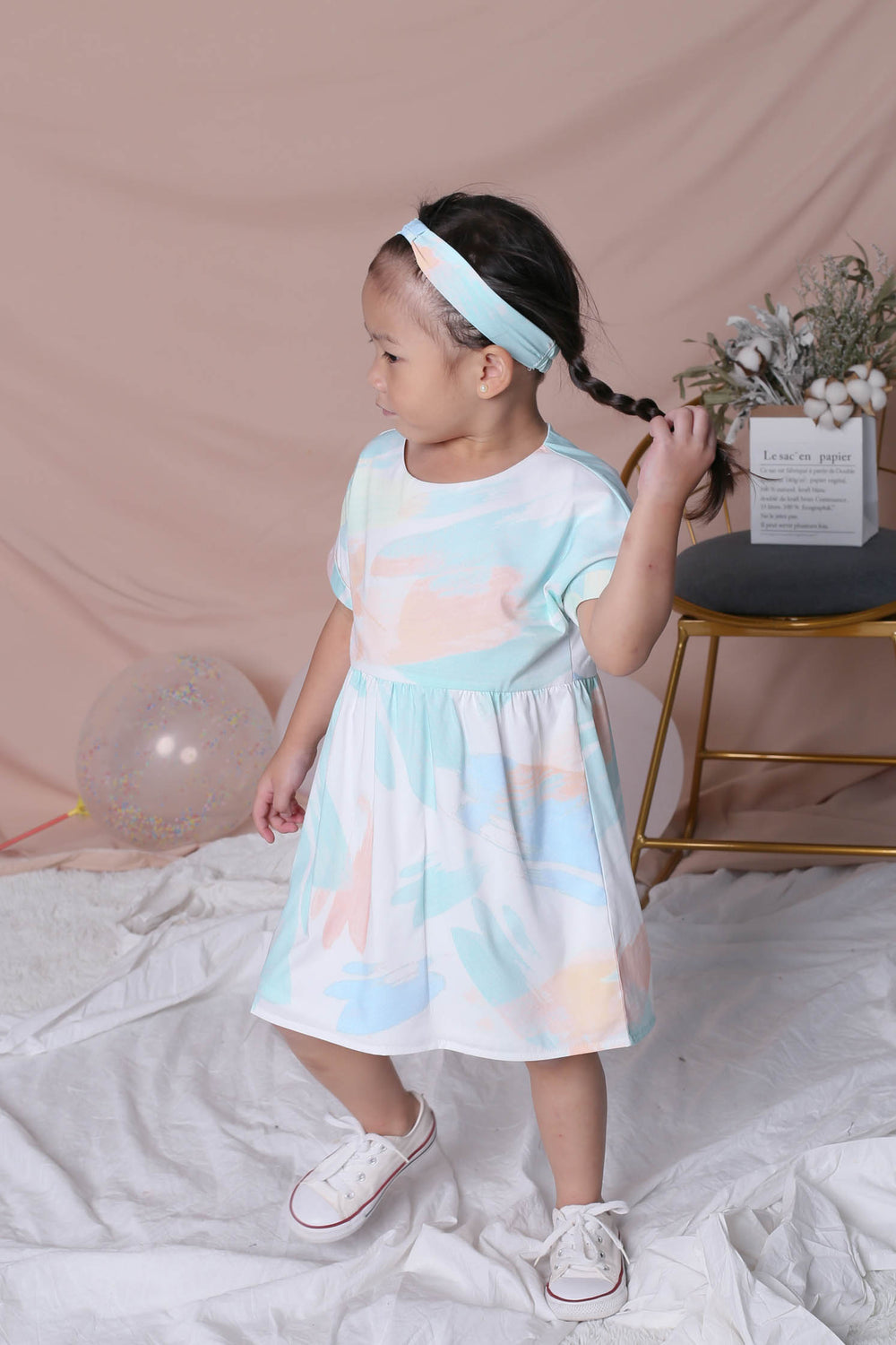*LITTLE TOPAZETTE* WATERCOLOUR BABYDOLL DRESS IN GREEN