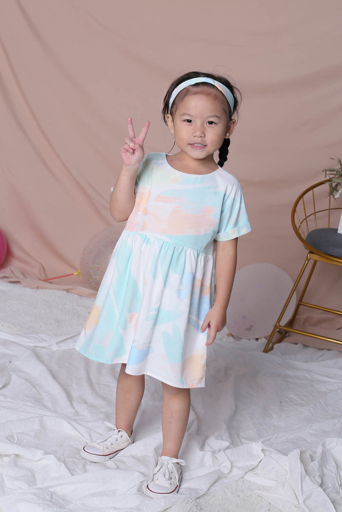 *LITTLE TOPAZETTE* WATERCOLOUR BABYDOLL DRESS IN GREEN - TOPAZETTE