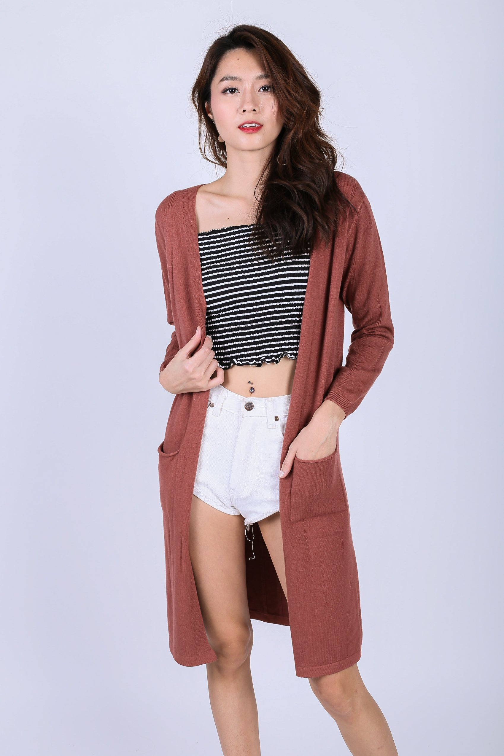 *RESTOCKED* SOFT KNIT LONGLINE CARDIGAN IN ROSEWOOD