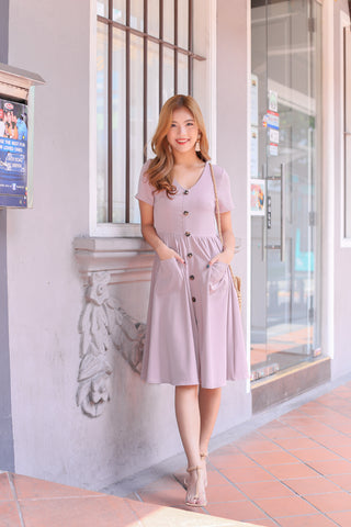 *TPZ* (PREMIUM) SARIELLE BUTTON POCKET MIDI IN DUSTY PINK
