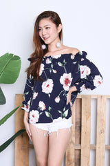 LEAH FLORAL 2 WAY OFFIE IN NAVY