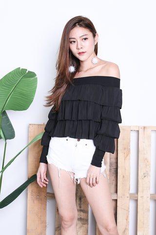 CELESTINA RUFFLED OFF SHOULDER TOP IN BLACK