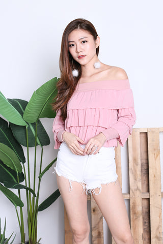 CELESTINA RUFFLED OFF SHOULDER TOP IN BLUSH