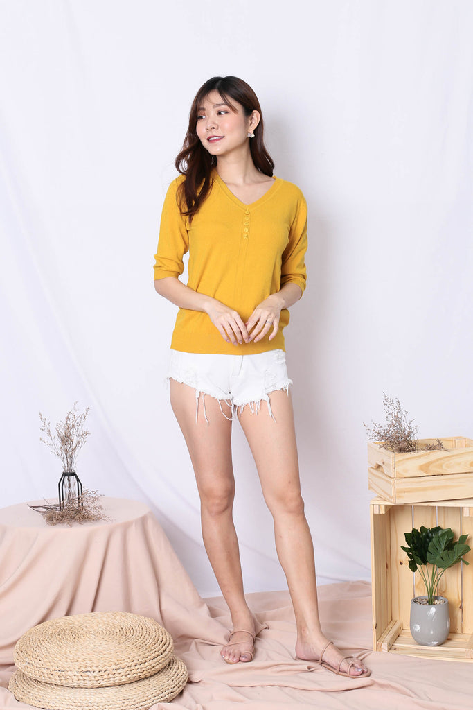 NORA KNIT TOP IN YELLOW