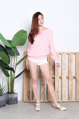 ADELE TWISTED KNIT TOP IN BABY PINK