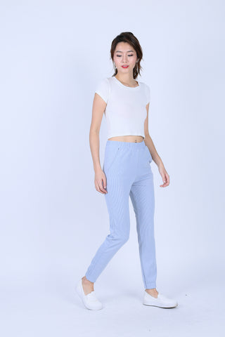 KNIT JOGGER PANTS IN BABY BLUE